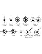 Diode, Rectifier, Bridge rectifier, Schottky diode, Zener diode, Light-emitting diode (LED), Photodiode, DIAC (Diode for Alternating Curent), Peltier cooler
